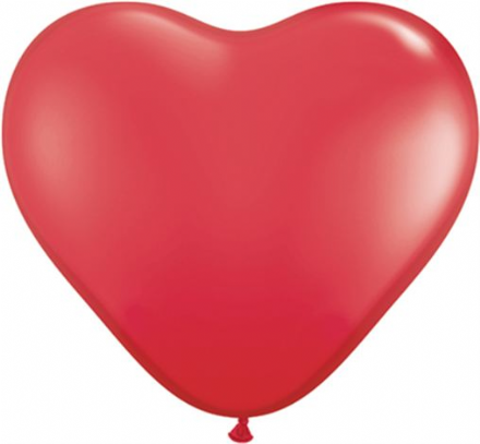 3' Red Heart Latex Balloons x 2